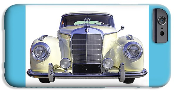 Sportcars iPhone Cases - White Mercedes Benz 300 Luxury Car iPhone Case by Keith Webber Jr