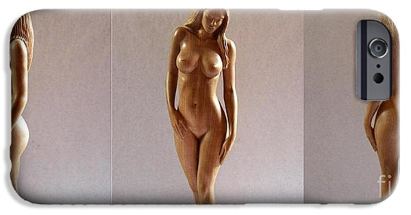 Wooden Sculptures iPhone Cases - White Naked - Wood Sculpture iPhone Case by Carlos Baez Barrueto