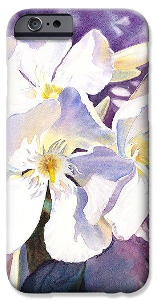 Flora iPhone Cases - White Oleander iPhone Case by Irina Sztukowski