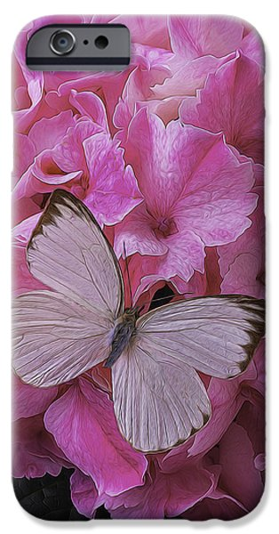 Insects Photographs iPhone Cases - White On Pink iPhone Case by Garry Gay