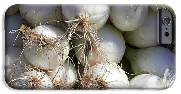 Farm Stand Photographs iPhone Cases - White Onions iPhone Case by Tony Cordoza