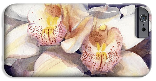 Botanic Illustration iPhone Cases - White Orchids Watercolor iPhone Case by Greta Corens