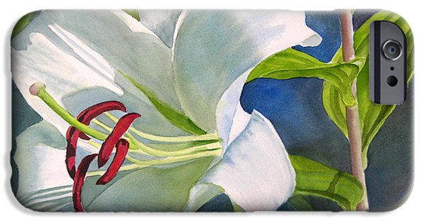White Flowers Paintings iPhone Cases - White Oriental Lily iPhone Case by Sharon Freeman