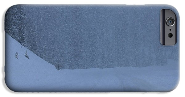 Harsh Conditions iPhone Cases - White Out on Monarch Mountain iPhone Case by Janice Rae Pariza