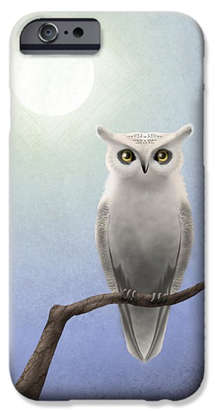 Bare Tree iPhone Cases - White Owl iPhone Case by April Moen