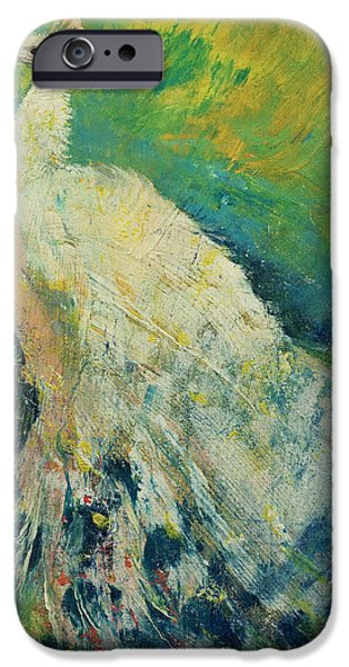 Michael Paintings iPhone Cases - White Peacock iPhone Case by Michael Creese