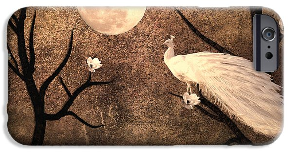 Peacock iPhone Cases - White Peacock iPhone Case by Sharon Lisa Clarke