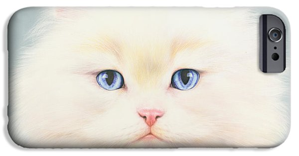 Portrait iPhone Cases - White Persian iPhone Case by Andrew Farley