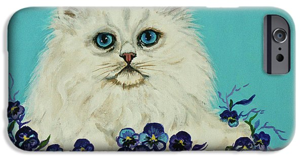 Bobcats Digital iPhone Cases - White Persian in Pansy Patch iPhone Case by  Bob and Nadine Johnston