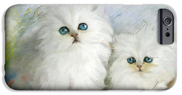 Canary iPhone Cases - White Persian Kittens  iPhone Case by Catf