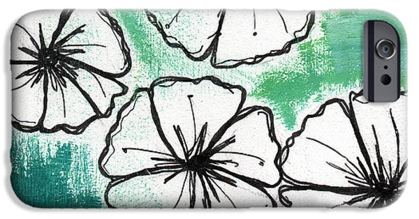 Designer iPhone Cases - White Petunias- Floral Abstract Painting iPhone Case by Linda Woods