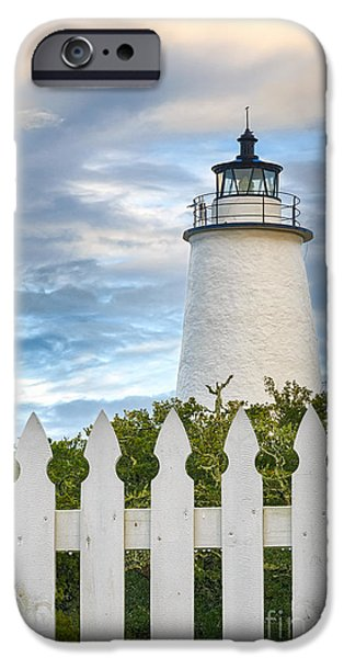 Safety Pyrography iPhone Cases - White Picket Fence and Lighthouse iPhone Case by Dan Waters