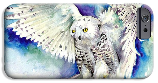 Snowy Night Paintings iPhone Cases - White Polar Owl - Wizard Dynamic White Owl iPhone Case by Tiberiu Soos