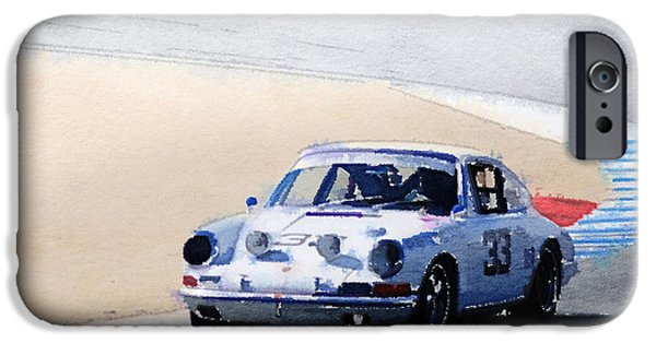 Old Cars iPhone Cases - White Porsche 911 in Monterey Watercolor iPhone Case by Naxart Studio