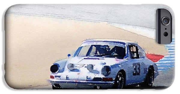 Porsche 911 iPhone Cases - White Porsche 911 in Monterey Watercolor iPhone Case by Naxart Studio