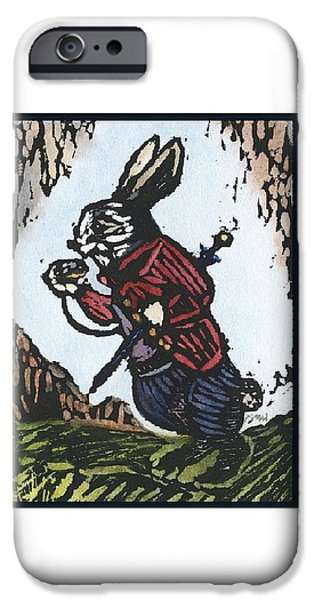 Umbrella Reliefs iPhone Cases - White Rabbit iPhone Case by Barbara M Wilson