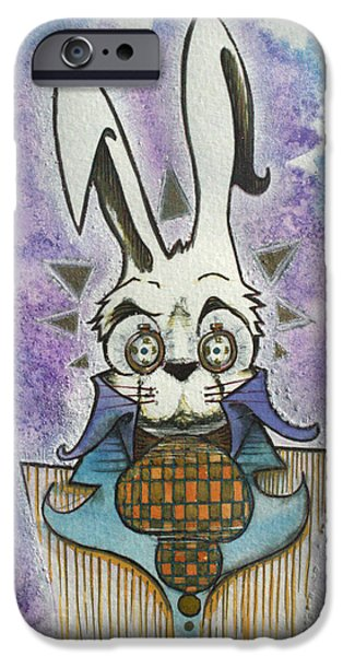 Alice In Wonderland Drawings iPhone Cases - White Rabbit iPhone Case by Ellen Henneke