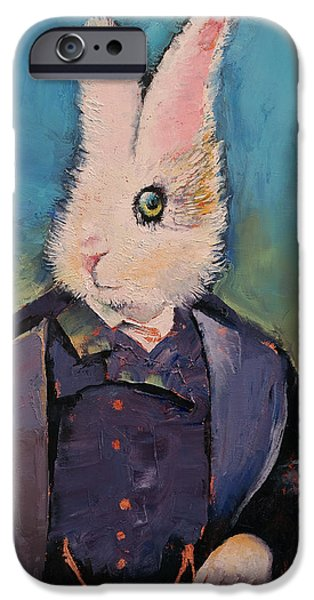 Alice In Wonderland iPhone Cases - White Rabbit iPhone Case by Michael Creese