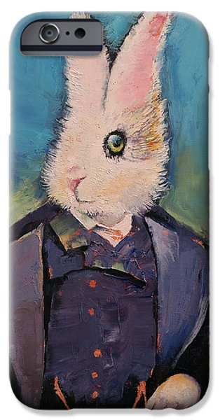Wonderland Art iPhone Cases - White Rabbit iPhone Case by Michael Creese