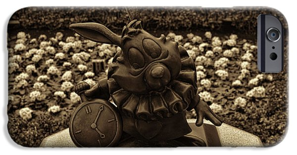 Alice In Wonderland iPhone Cases - White Rabbit Statue iPhone Case by Tommy Anderson