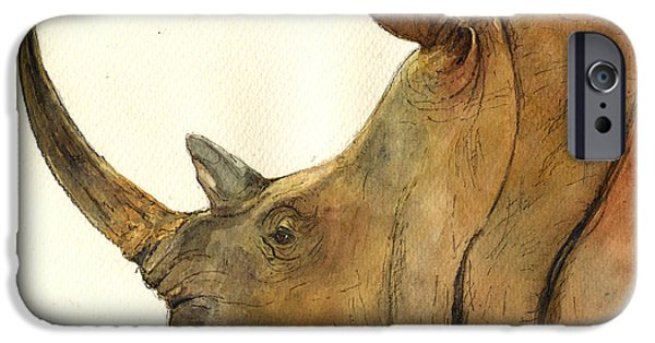Nature Study Paintings iPhone Cases - White rhino head study iPhone Case by Juan  Bosco