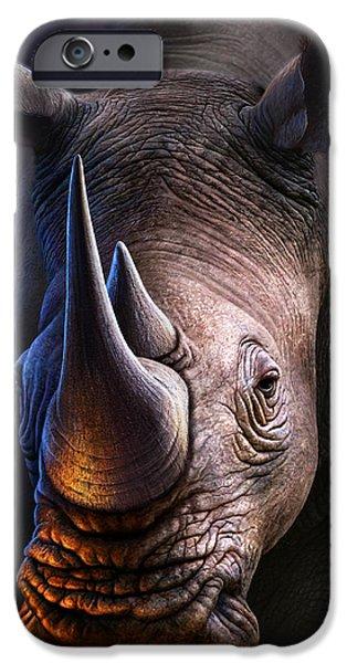 Rhino iPhone Cases - White Rhino iPhone Case by Jerry LoFaro