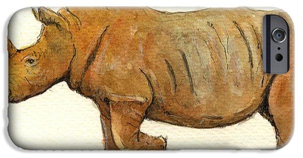 Rhino iPhone Cases - White Rhino iPhone Case by Juan  Bosco