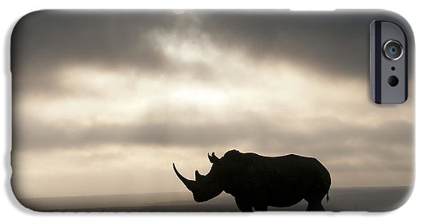 Lips iPhone Cases - White Rhinoceros At Sunset Kenya iPhone Case by Tui De Roy