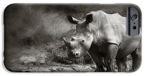 Stand iPhone Cases - White Rhinoceros iPhone Case by Johan Swanepoel