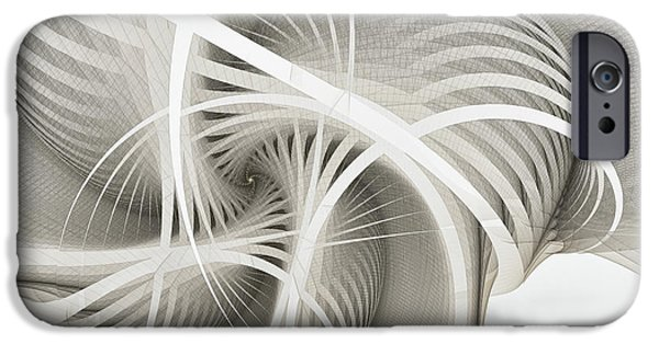 Geometrical iPhone Cases - White Ribbons Spiral iPhone Case by Karin Kuhlmann