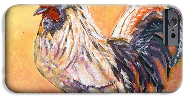 Chickens iPhone Cases - White Rooster iPhone Case by Jennifer Lommers
