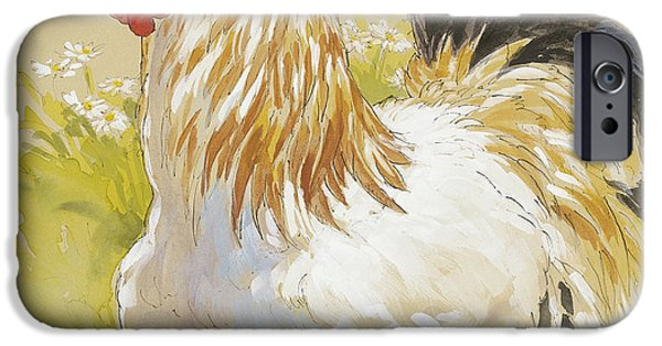 Farm Mixed Media iPhone Cases - White Rooster iPhone Case by Tracie Thompson