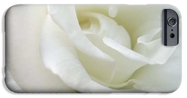 Macro Photographs iPhone Cases - White Rose Angel Wings iPhone Case by Jennie Marie Schell