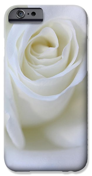 Innocence iPhone Cases - White Rose Floral Whispers iPhone Case by Jennie Marie Schell