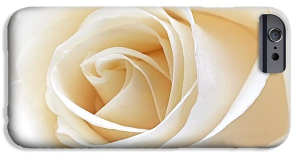 Inner Peace iPhone Cases - White Rose Heart iPhone Case by Gill Billington