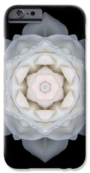 White Rose I Flower Mandala iPhone Case by David J Bookbinder