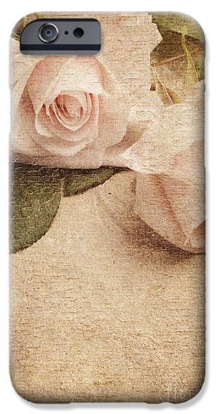 Fine Abstract Pyrography iPhone Cases - White Roses iPhone Case by Jelena Jovanovic