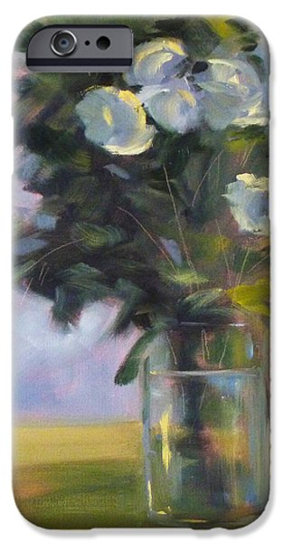 Business Paintings iPhone Cases - White Roses iPhone Case by Nancy Merkle