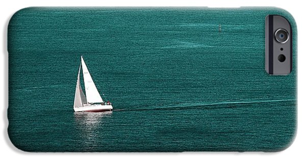 North Sea iPhone Cases - White Sailboat iPhone Case by Sonya Kanelstrand