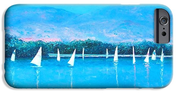 Wind Surfing Art iPhone Cases - White Sails iPhone Case by Jan Matson
