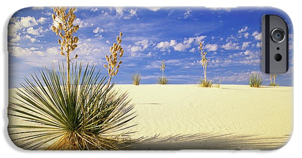 Canadian Photographer iPhone Cases - White Sand Blue Sky New Mexico iPhone Case by Bob Christopher