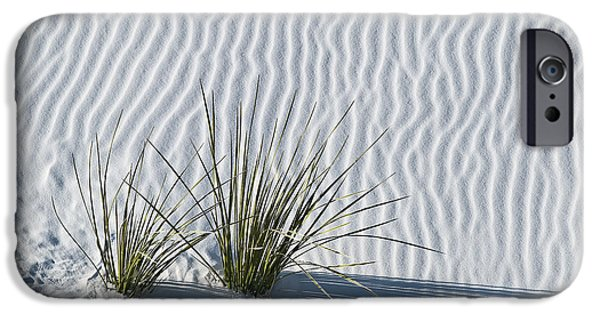 White Sand iPhone Cases - White Sands Grasses iPhone Case by Steve Gadomski