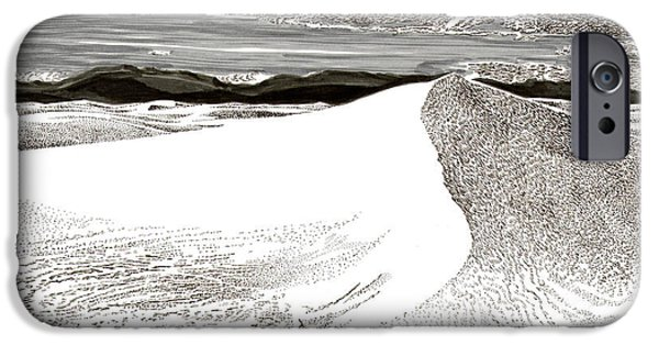 Pen And Ink Framed Prints iPhone Cases - White Sands New Mexico iPhone Case by Jack Pumphrey
