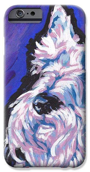 Scottish Terrier Art iPhone Cases - White Scot iPhone Case by Lea