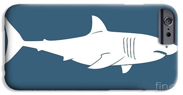 Shark Paintings iPhone Cases - White Shark iPhone Case by Amy Kirkpatrick