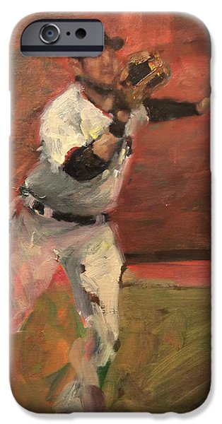 Baseball Art Paintings iPhone Cases - White Shark Snatch iPhone Case by Darren Kerr