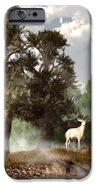 Harts iPhone Cases - White Stag on a Misty Morning iPhone Case by Daniel Eskridge
