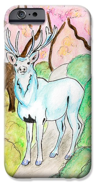 Cherry Blossoms Drawings iPhone Cases - White Stag iPhone Case by Pati Photography