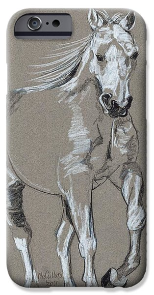 The Horse Pastels iPhone Cases - White Stallion iPhone Case by Lana McCullars