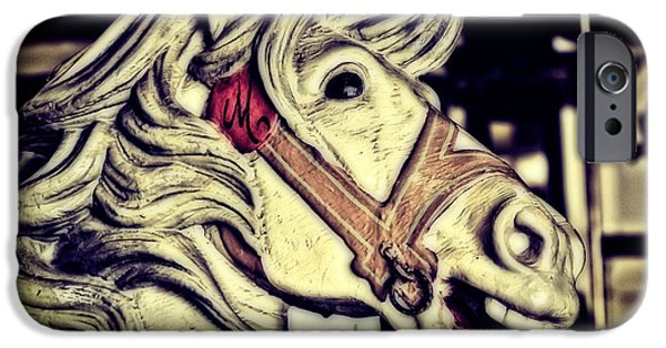 Casino Pier iPhone Cases - White Steed - Antique Carousel iPhone Case by Colleen Kammerer
